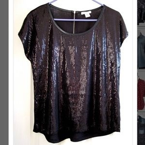 Black sequined tee